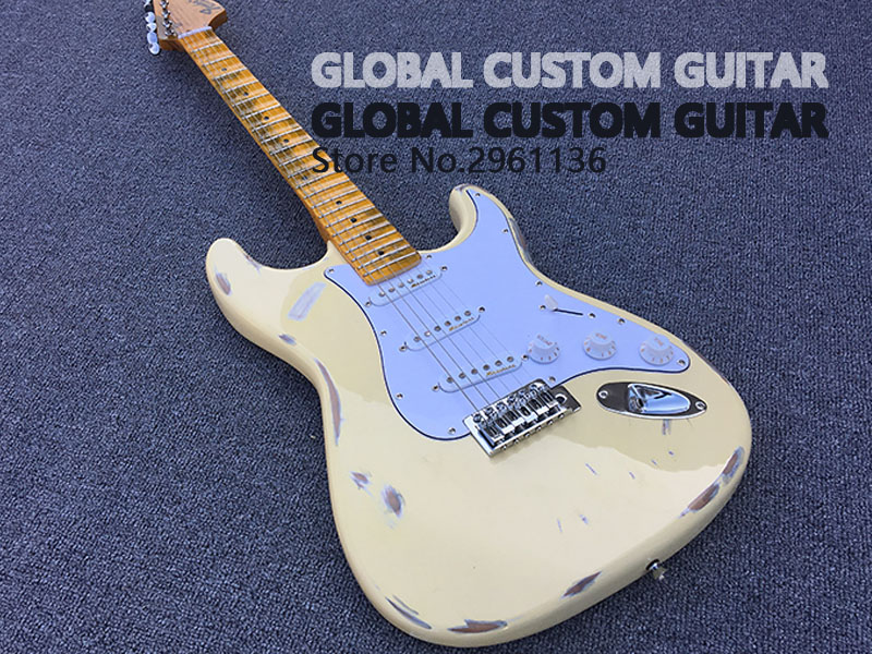 High Quality Electric Guitar ST Manual do old electric guitar Bulk milk yellow electric guitar HOT! Free shipping human free shipping hot guitar electric guitar olp yellow white double shake guitar good quality beautiful