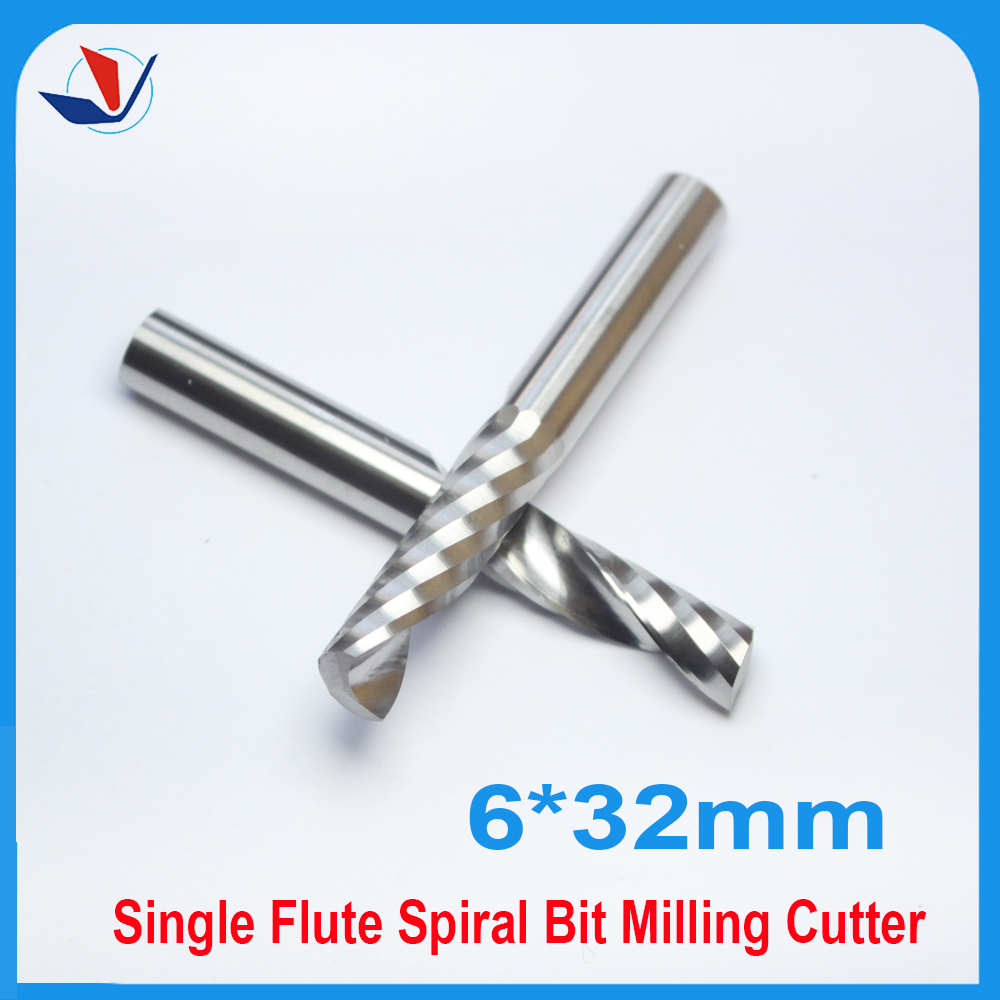 5pcs 6mm*6mm*32mm Carbide End Mill CNC Engraving Tools One Single Flute Spiral Bit Milling Cutter  Free Shipping