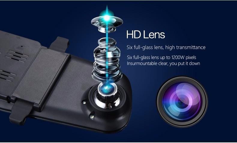 E-ACE Car Dvr Camera Led Lights Blue Rearview Mirror FHD 1080P Night Vision Video Recorder Dual Lens Auto Registrator Dash Cam 16
