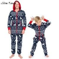 Family Clothes Mens Children Kid Boys Hoodie Outfit Print Christmas Elk Print Jumpsuit Pyjamas Autumn Winter