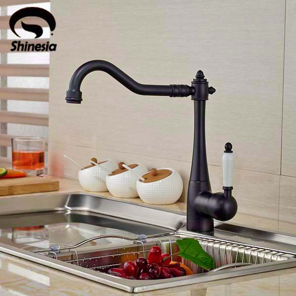 Swivel Spout Oil Rubbed Bronze Kitchen Faucet Vessel Sink Mixer Tap Deck Mounted oil rubbed bronze spring kitchen faucet swivel spout pull out kitchen sink mixer tap deck mounted