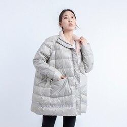2019 di nuovo modo puffer piume d'anatra bianca giacca donne Coreane più il formato UNA linea casual cappotto di inverno delle donne allentato abbigliamento