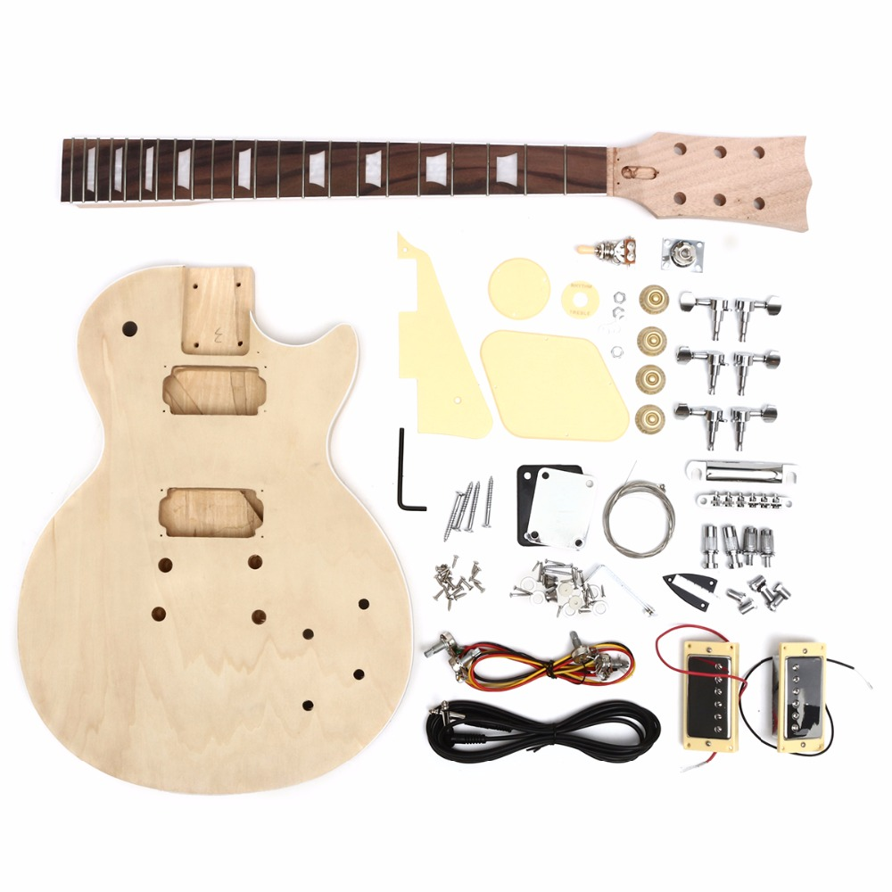 diy electric guitar solid wood with body neck string tunning pegs unfinished guitar kit in. Black Bedroom Furniture Sets. Home Design Ideas