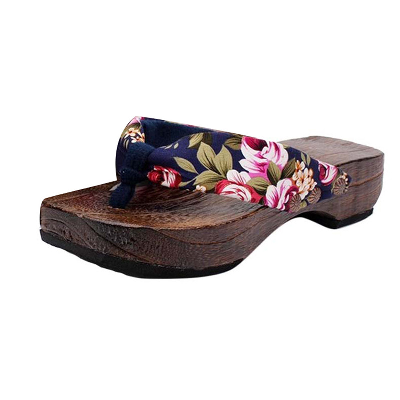 Hot Sale Summer Platform Shoes Wood Women Sandals Clog Wooden Slippers Flip-Flops for women paulownia Clogs Sandles schuhe damen