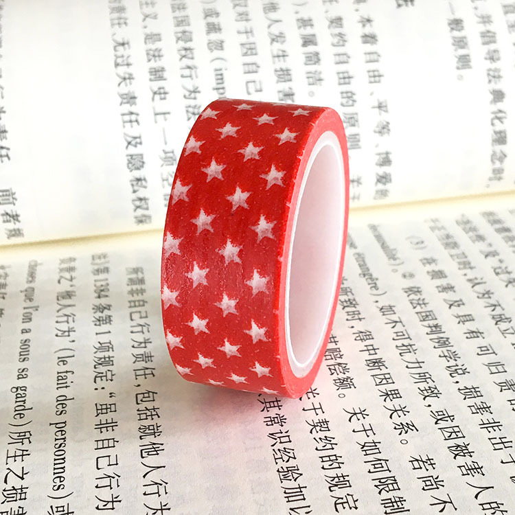 20pcs/set Spot Red Pentagon Children DIY Decorative Sticker Handbook and Paper Tape Red Star Washi Tape