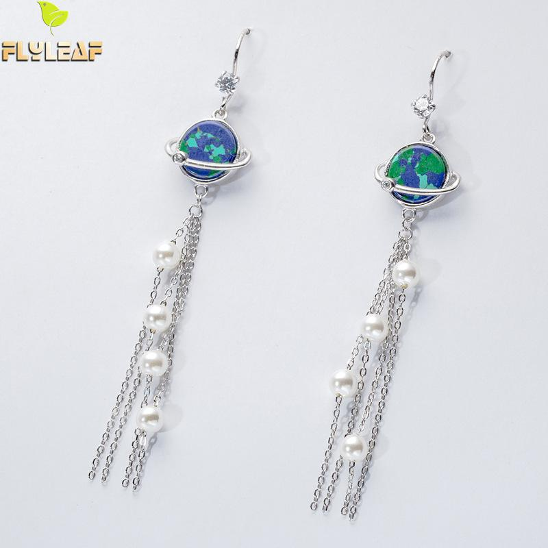Flyleaf Real Silver 925 Drop Earrings For Women Star Planet Pearl Cubic Zirconia Long Tassel Earings Fashion Jewelry