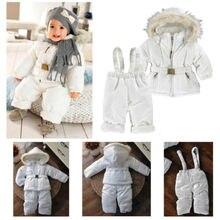 New Arrival 2015 Baby Winter Pure White Snowsuit Set Unisex Snow Jacket Coat+Pants Childrens Outwear