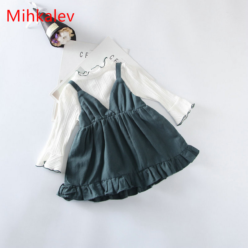 Mihkalev baby costume for girls spring clothing white t shirt +dress baby girl long sleeve sets for kids children clothes suits bebes clothing sets 2pcs st patricks day short sleeve romper tutu dress headband festival girls sets kids clothes costume