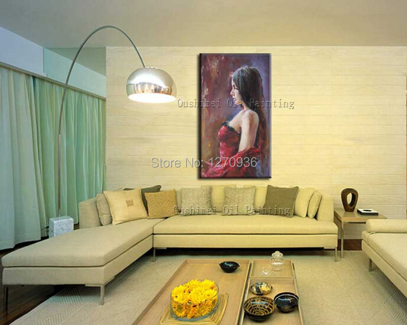 Handmade Sexy Girl Flamenco Dancer Woman Oil Painting on Canvas Large Abstract Portrait Canvas Wall Art Living Room Decoration