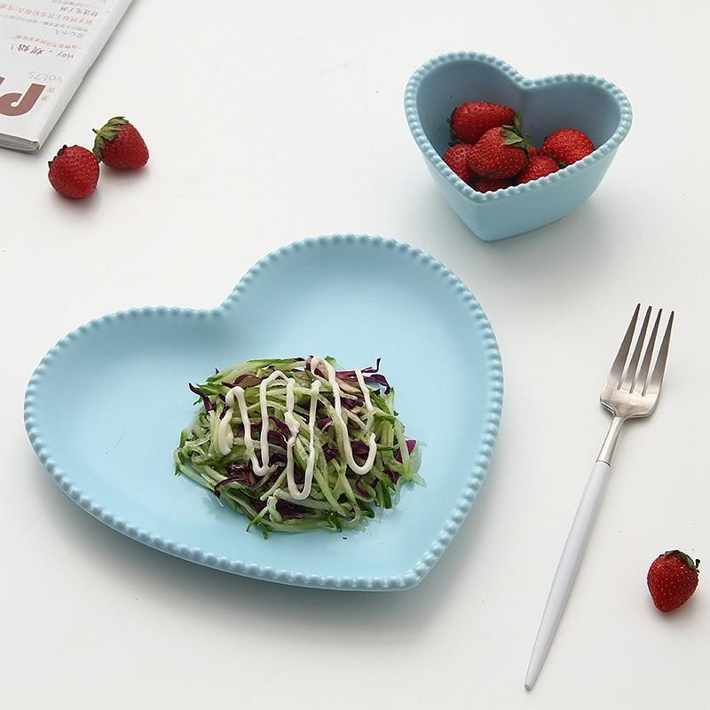 высокага якасць форма сэрца керамічнай суцэльнага колеру Дзеці Посуд Дзеці Талерка Sucker Боул дзіцячую моду посуд