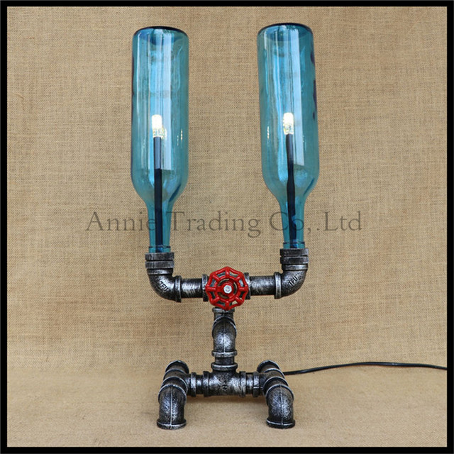Vintage Rustic Industrial pipe table lights glass shade bottle pipe desk lamp art decor luminaria mesa candeeiro de abajur led