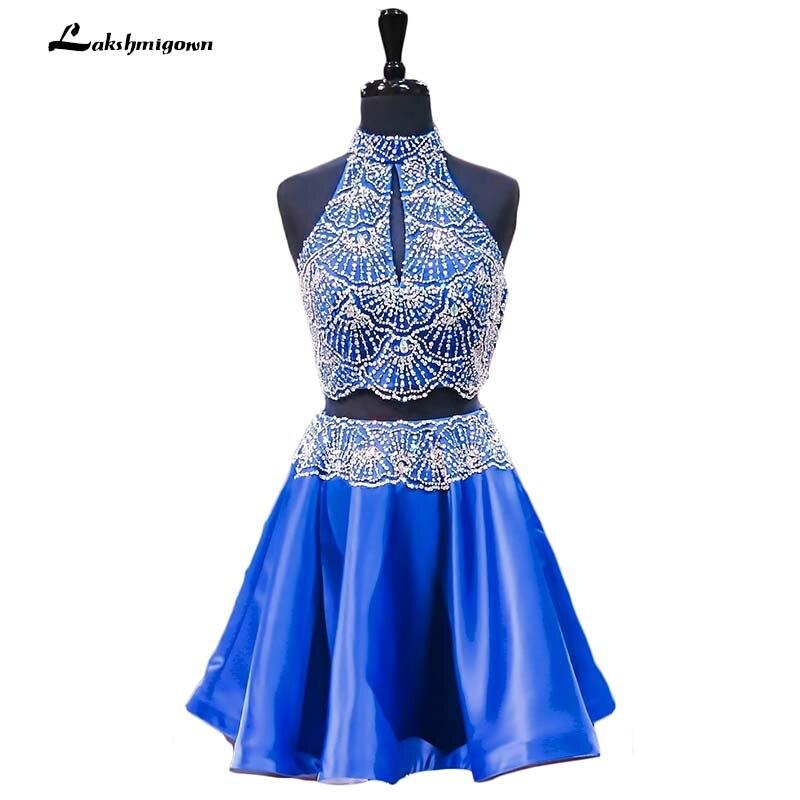 Королевский синий 2018 платья line Короткие мини атласная Кристаллы бисера открытой спиной Элегантное коктейльное платье vestido graduacion