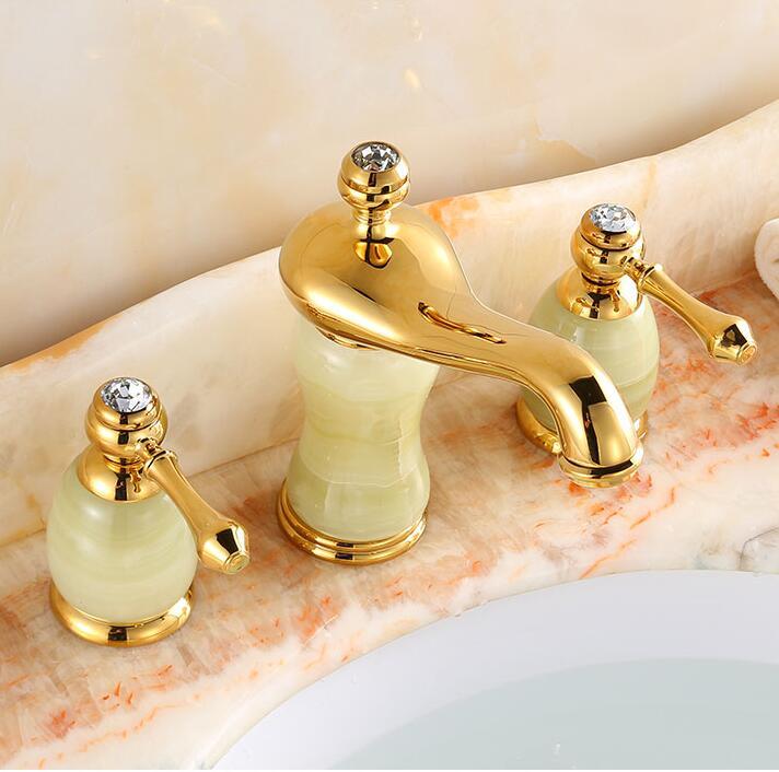 Robinet de salle de bain de luxe en laiton massif construction Jade finition or chaud et froid robinet de lavabo de 8Robinet de salle de bain de luxe en laiton massif construction Jade finition or chaud et froid robinet de lavabo de 8