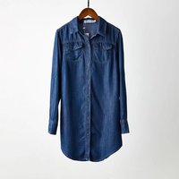 2018 Spring New Style Women Fashion Long Sleeves Blouse Vintage Slim Denim Shirt Casual Dark Blue