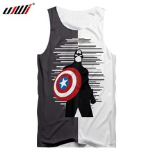Ujwi 2019 Man Zwart Wit Diverse Kleur Tank Top 3D Gedrukt Captain America T-shirt Super Hero Mannen Losse(China)
