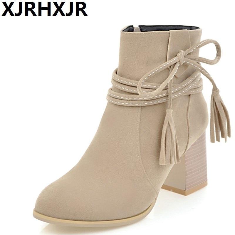 XJRHXJR British Style Suede Leather Ankle Boots Women Shoes Autumn Winter Side Zipper Martin Boots Female Square Heel Shoet Boot xjrhxjr 2018 autumn winter new long