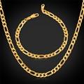 Hombres Juegos de Joyería Con Chapado En Oro 5 MM Clásico Collar Figaro Pulsera de Cadena de La Joyería de Moda Para Los Hombres NH1041