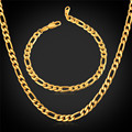 Men Jewelry Sets With Gold Plated 5MM Classic Figaro Necklace Bracelet Chain Fashion Jewelry Set For Men NH1041