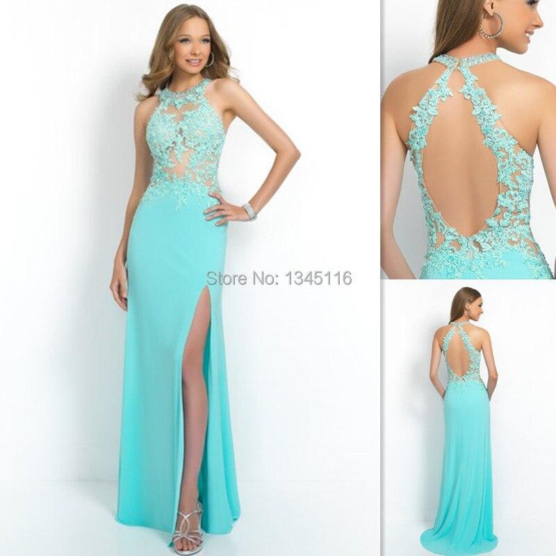 Vestidos de noche azul aqua