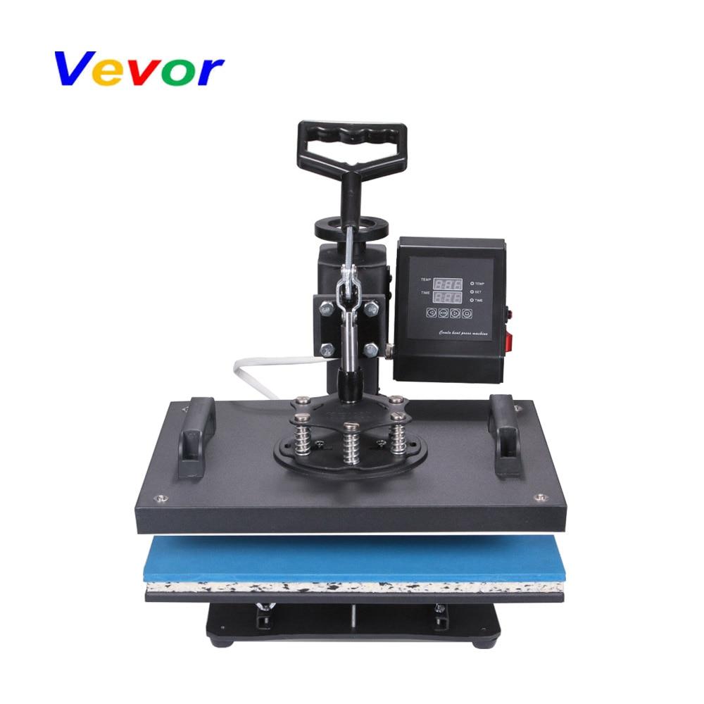 VEVOR 6 In 1 Heat Press Machine Digital Transfer Sublimation T-shirt Mug Hat