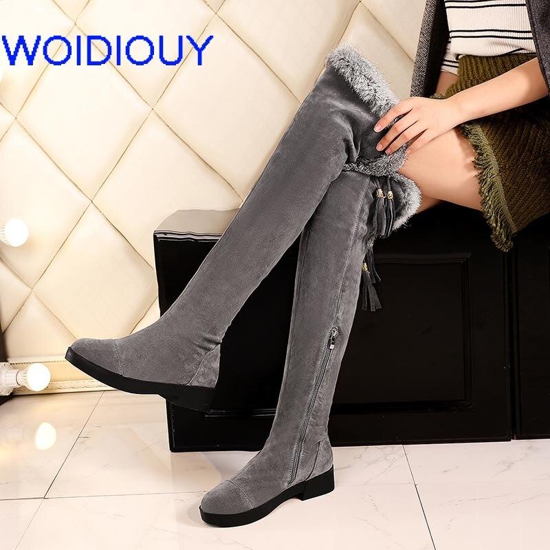 Moto gray Damas Tacón Black Botas El Negro Zapatos De Más Nieve Tamaño Inverno Bajo Fringe Matorral Feminina Mujeres Mujer Bota PrPHUqx