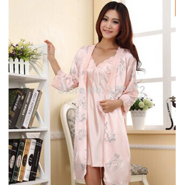 Sleepwear Pajama Pajamas set Robe Gown Set women Bathrobe nightgown ...