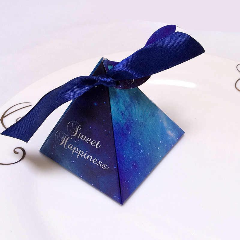 50 unids/lote caja de dulces púrpura/azul de la estrella de la moda caja de dulces de boda con tarjeta con cinta DIY especial caramelo regalo caja de suministros para fiesta