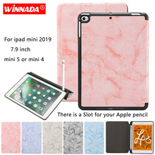 Tablet case for iPad mini 2019 7.9 inch marble grain capa TPU coque pencil slot cover Apple 4 ipad 5