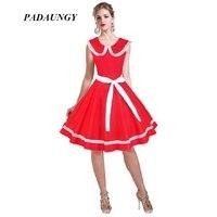 PADAUNGY Ball Gown Dresses Vestidos De Festa Slim Sleeveelss Audrey Hepburn Vintage Dress Sailor Neck Knee
