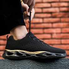 Fashion Trendy Men Shoes Breathable Light Run Sneakers Blade Flyknit  Increase Outdoor Lace-up Summer Mesh Casual