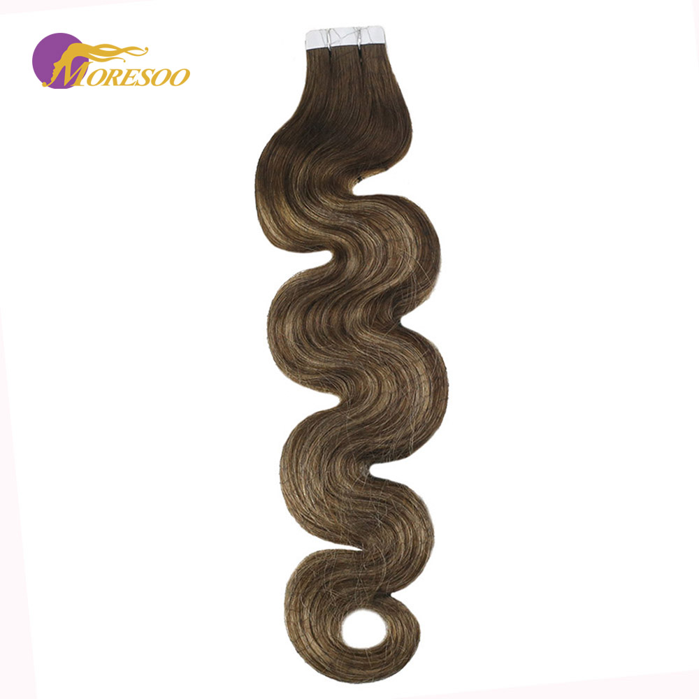 Moresoo Tape In Hair Extensions Real Remy Hair Balayage Color #4/27/4 Body Wave Seamless Skin Weft 20PCS 50G Extensions