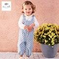 DB4486 dave bella bebé resorte de la muchacha guardapolvos guardapolvos de los niños de la muchacha mono del bebé lindo trajes dots impreso trajes