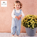 DB4486 dave bella  spring baby girl overalls children overalls girl jumpsuits baby cute overalls dots printed overalls