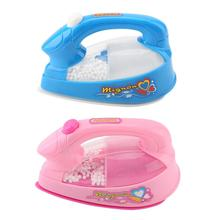 Plastic Mini Electric Iron Toy Kids Baby Girl Pretend Play Home Appliances Toy Light up Simulation Toy Colors Random delivery
