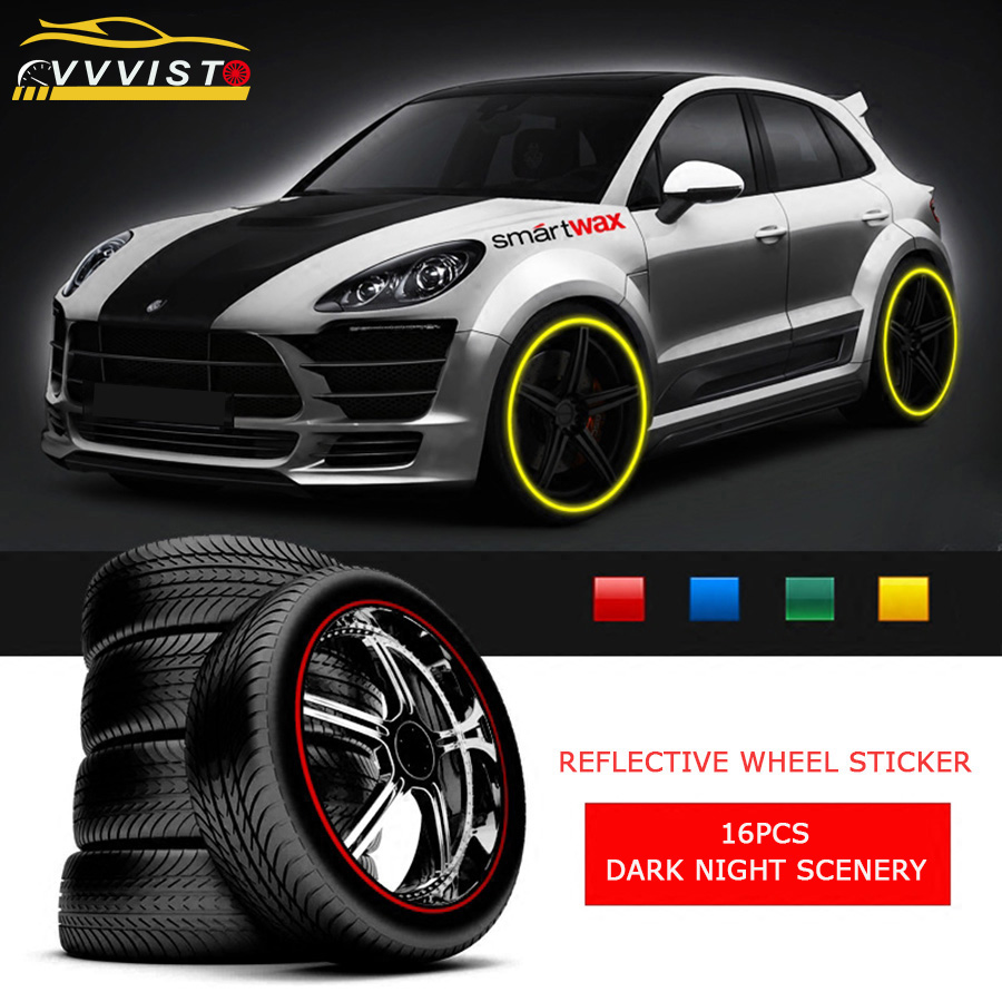 2019 VVVIST Reflective Car Stickers Car Styling And Decals For 17in  Wheel Rim 16 Pcs Strips Wheel Stickers 4 Colors Car Styling