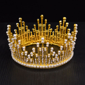 Image 4 - Vintage Gold Silver Color Luxury Rhinestone Pearl Large Tiara Queen Round Big Crown For Bride Wedding Hair Jewelry Accessories