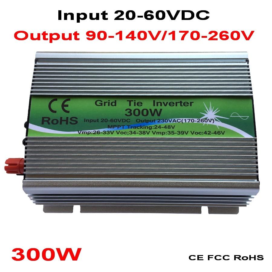300W Grid Tie Inverter MPPT Function 20 60VDC input 110V 230VAC Micro Grid Tie Pure Sine Wave Inverter 20V 60V to 110V 220V