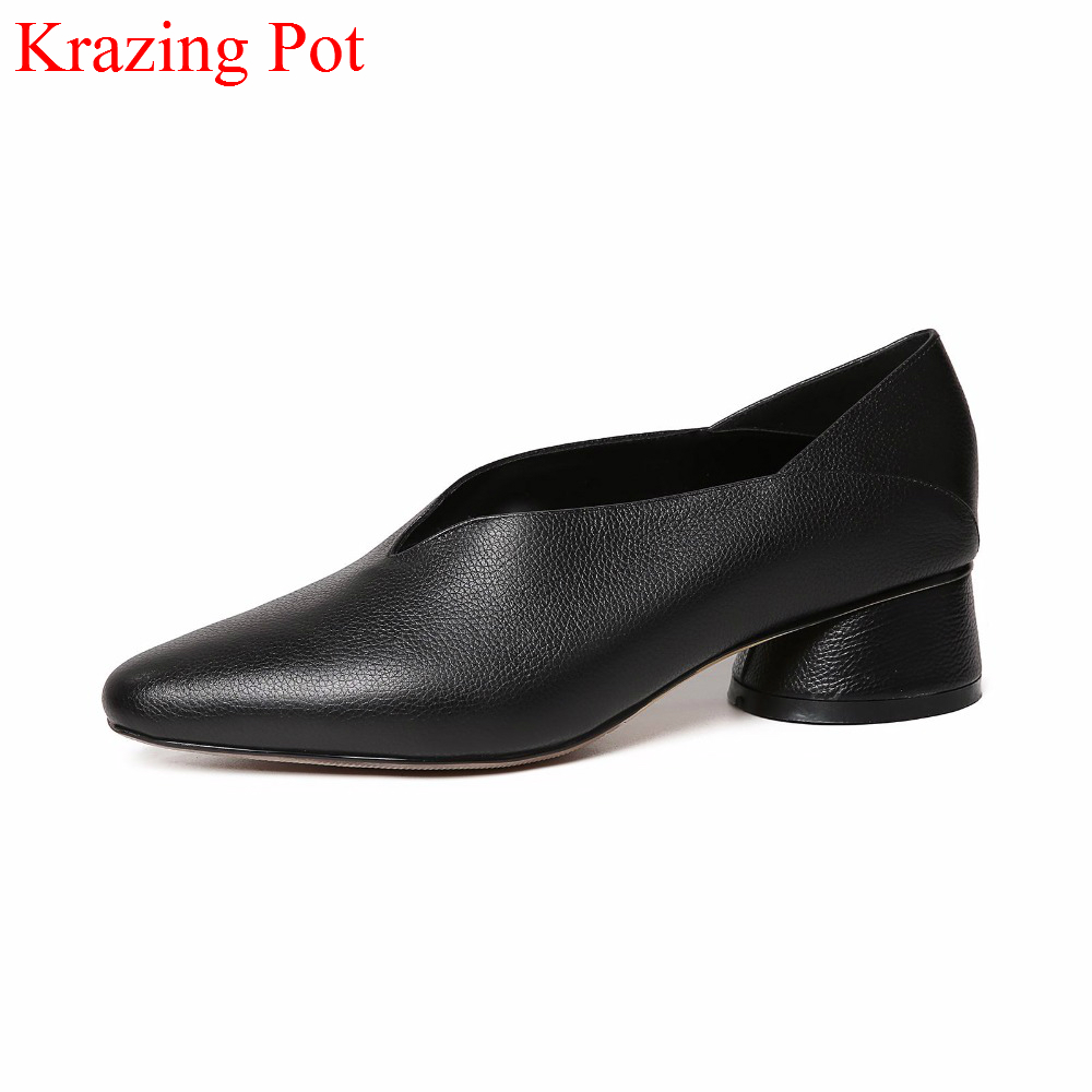 2018 New Arrival Genuine Leather Brand Spring Shoes Shallow Pointed Toe Thick Heel British White Slip on Concise Women Pumps L70 nayiduyun women genuine leather wedge high heel pumps platform creepers round toe slip on casual shoes boots wedge sneakers