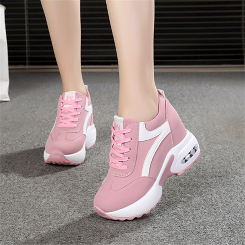 Women High Heels Spring Summer Fashion Mesh Casual Wedge Shoes Women Height Increasing Platform Shoes Women Sneakers White Pink-