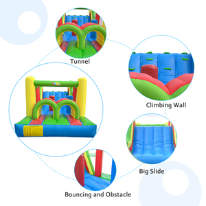 Image 3 - Inflatable Bounce House Obstacle Course Double Slides 6.4x2.8x2.5m Inflatable Trampoline Funny Bouncy Castle Christmas Gift