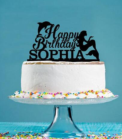 Admirable Custom Name Acrylic Little Mermaid Dolphin Girl Birthday Cake Funny Birthday Cards Online Alyptdamsfinfo