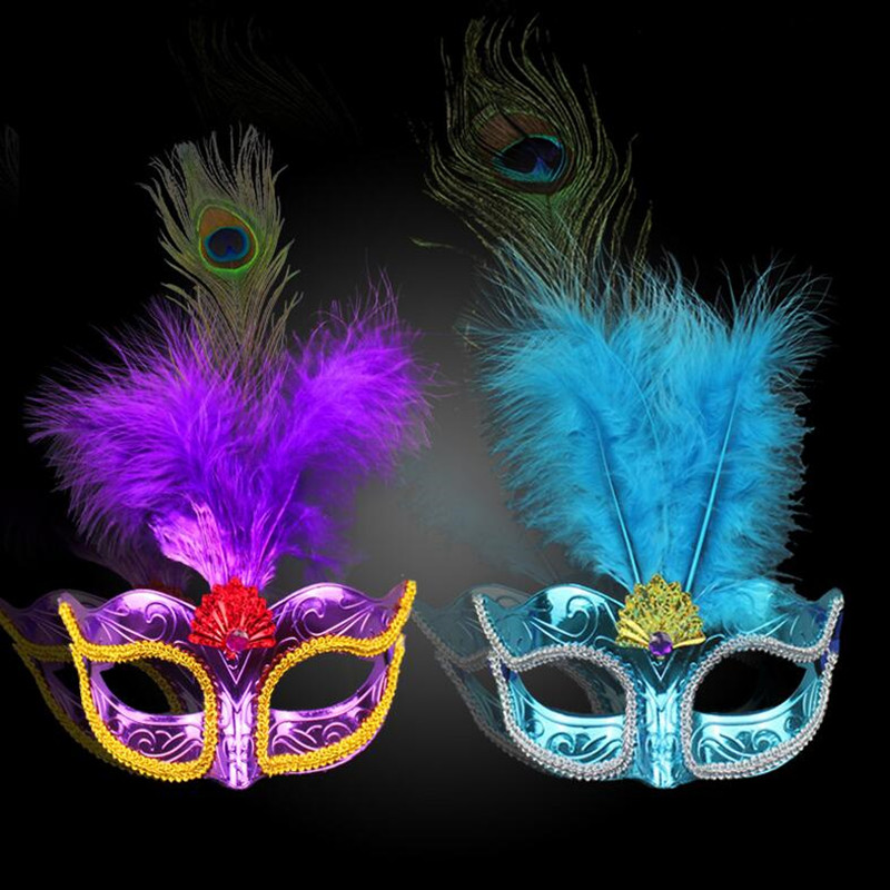 Sunflower Way   Women Masquerade Fluff Peacock Feather Mask  Colorful Princess Masks Bar KTV Dress Party Decorations  Halloween Christmas