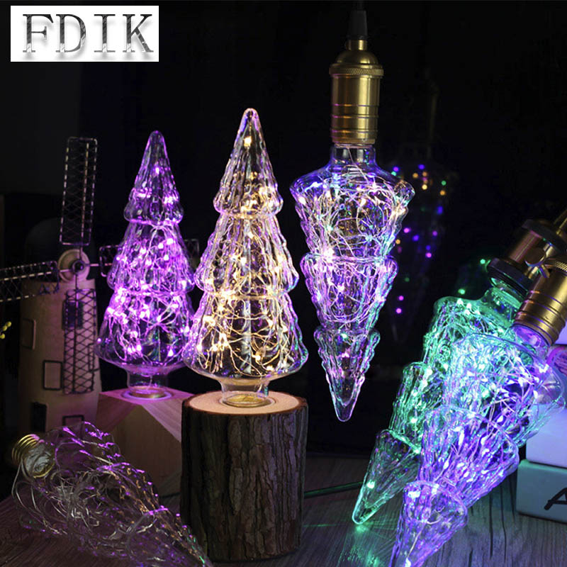 e27 holiday decoration bulb christmas tree shape led holiday light copper line table lamp light source ac85 265v led chandelier in led bulbs tubes from