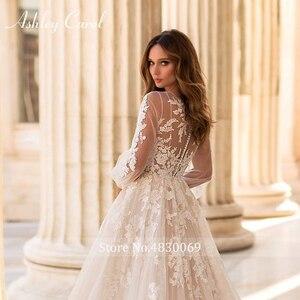 Image 4 - アシュリーキャロルaラインのウェディングドレス 2020 パフスリーブロマンチックなビーズアップリケボタン花嫁ガウンビーチ自由奔放に生きるvestidoデnoiva