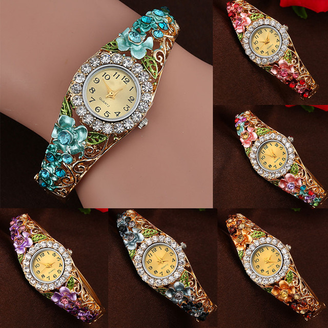 Gofuly 2019 New Women Quartz Luxury Crystal Flower Bracelet Watch Top Brand Fash