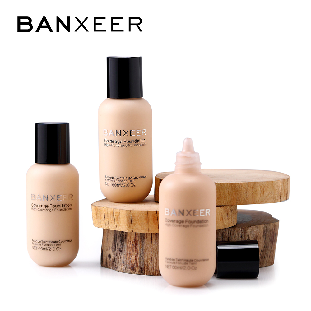 BANXEER Foundation 60ml Matte Long Lasting Full Concealer Foundation Makeup Liquid Cream Natural Base Make Up 目