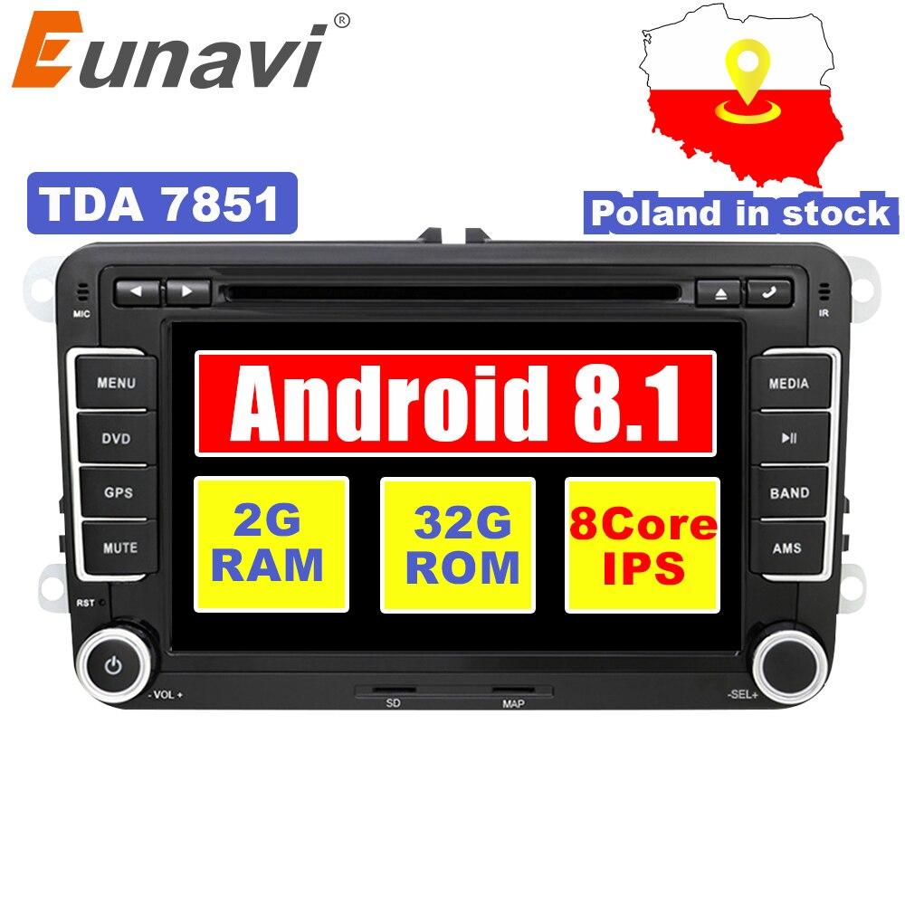Eunavi 7 pouces 2 Din Android 8.1 voiture gps radio stéréo lecteur dvd de voiture pour VW GOLF 6 Polo Bora JETTA B6 PASSAT Tiguan SKODA OCTAVIA