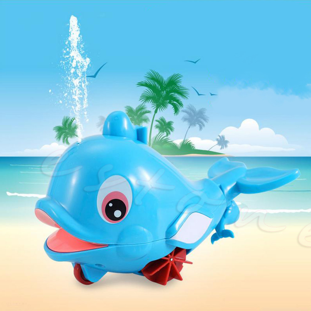 Blue Plastic Whale Shape Squirting Bath Baby Toddler Bathing Toy Swimming Pool