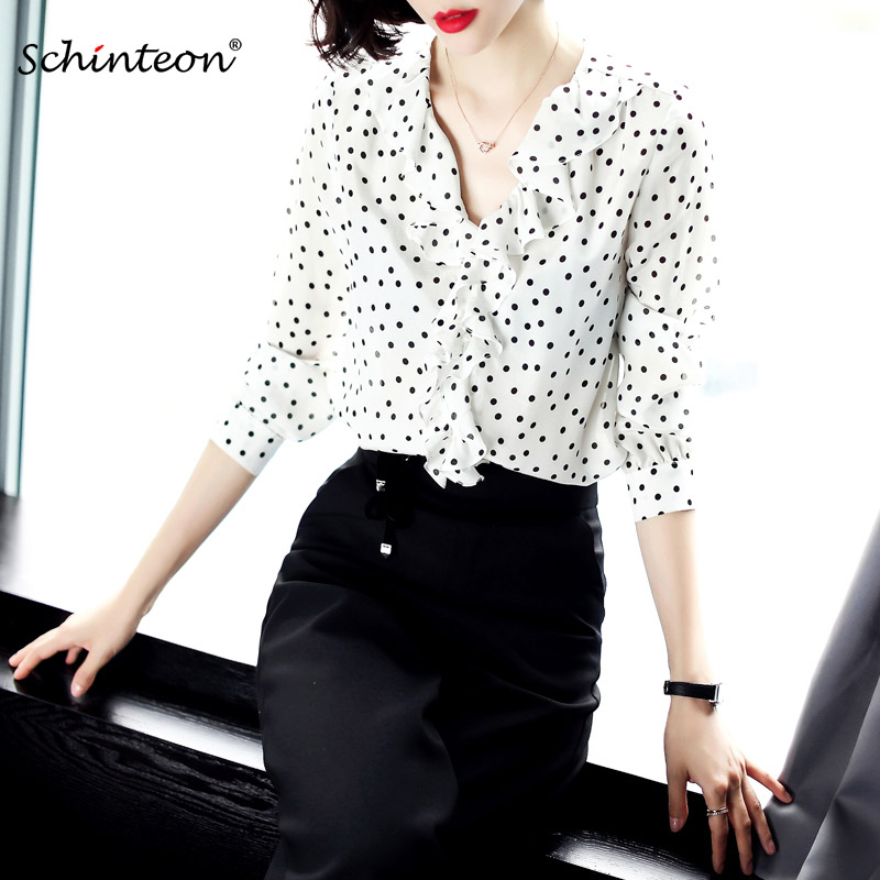 2019 Schinteon Women Spring Summer 100 Real Silk Blouse Polka Dot Shirts Ruffles V Neck White