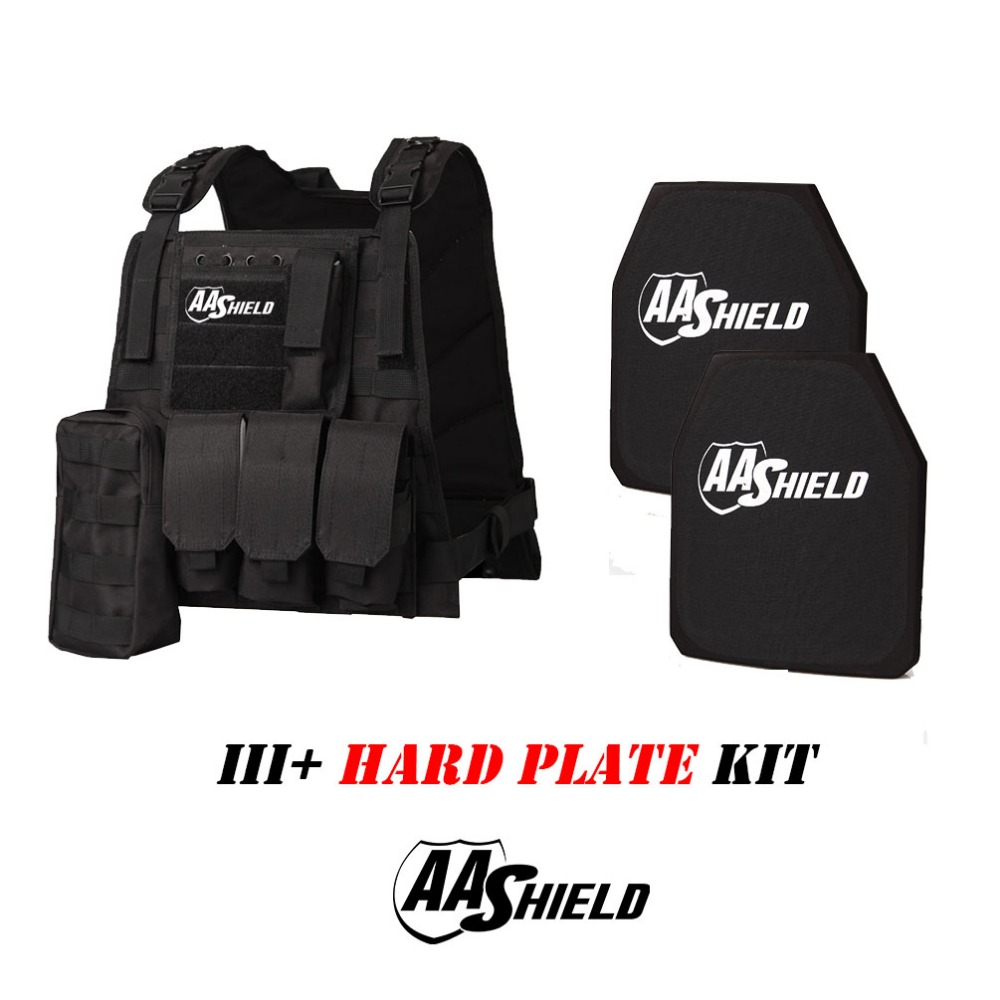 Aa Shield Molle Mbav Style Military Tactical Vest Iii Rifle Plate 3 Kit/black Waterproof Shock-Resistant And Antimagnetic Security & Protection